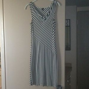 Ann Taylor black and white striped dress